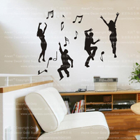 ריקוד משלוח חינם מוסיקה אופנתי נשלף ויניל קישוט קיר מדבקת קיר בית תפאורה קיר נייר אמנות דיוקן 105*110 ס