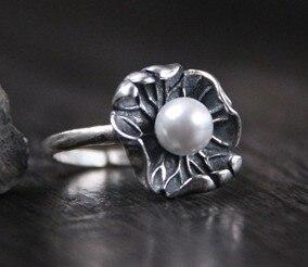 S925 sterling silver court art vintage lotus leaf pearl ring female models