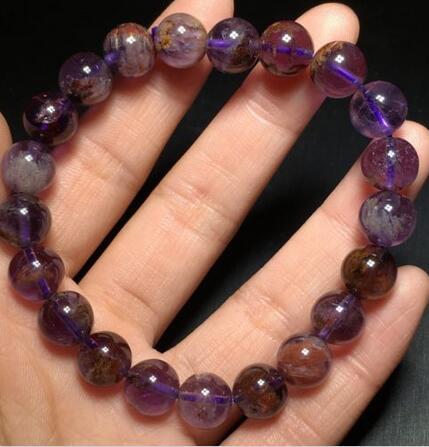 Bracelet extensible en perles de cristal de Quartz naturel brésilien fantôme livraison gratuite