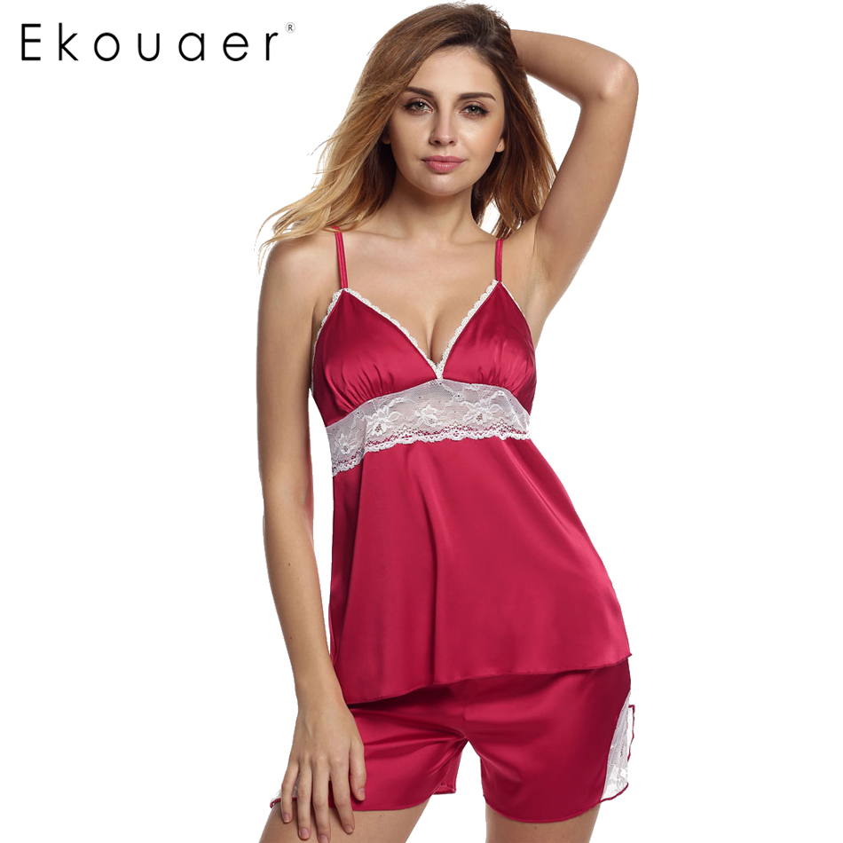 Ekouaer Sleepwear Women's Short Pajama Set Sexy Lingerie Satin Cami Set Lace Patchwork Sleeveless Backless Satin Nightgown