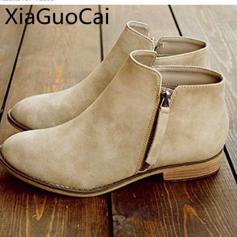 3f624cc9719aa European and American Retro Ankle Boots Shoes Amazon New Shallow High Heels  Autumn Boots Bottom Side Zipper Shoes