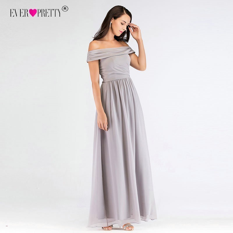 Grey Long Bridesmaid Dresses Ever Pretty Women`s A-Line Formal Banquet Gown Chiffon Off the Shoulder Dress For Wedding Party