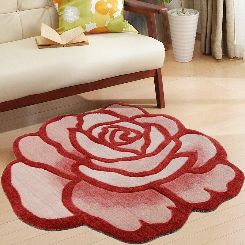 Tapis style pastorale broderie à la main 3D Rose tapis Floral bain tapis antidérapant abstrait tapis en forme de Rose tapis pour salon