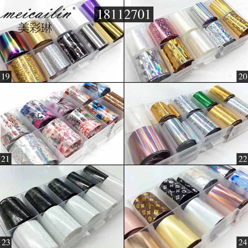 10 Design/set 2.5*100cm DIY Holographic Transfer Foil Nail Art Stickers Starry Paper AB Metal Color UV Gel Wraps Adhesive Decals