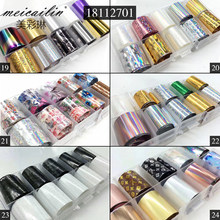 10 Design/Set 2.5*100Cm Diy Holografische Transfer Folie Nail Art Stickers Starry Papier Ab Metaal Kleur uv Gel Wraps Adhesive Decals(China)