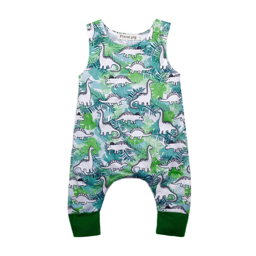 Newborn Infant Baby Boys Girls Cotton Romper Cartoon Dinosaur Print Romper summer sleeveless Jumpsuit Sleepwear Outfits puseky 2017 infant romper baby boys girls jumpsuit newborn bebe clothing hooded toddler baby clothes cute panda romper costumes
