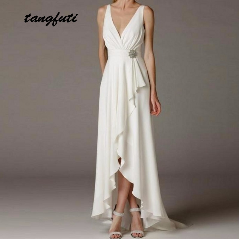 Greek Wedding Dresses Long Beach Simple Deep V Neck Empire Sash Belt High Low Bride Bridal Gowns Dress 2019 vestido de noiva