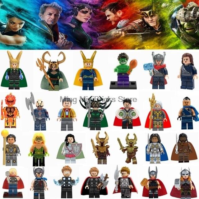 סופר גיבור מארוול הלה Valkyrie Thor דמויות סט ראגנארוק לוקי אבני בניין צעצועי ילדים Legoings פלאים אינפיניטי מלחמת נוקמי