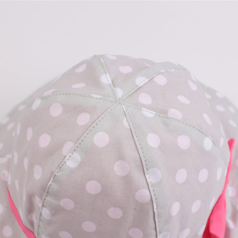 Dots Bowknot Baby Girls Bucket Sun Hat Toddler Kids Wide Brim Summer UV Protection Cap High Quality Cotton Lining Chinstrap Stay On (7)