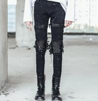 Autumn personality spell leather tassel design Korean Slim men's jeans nightclub DJ tide pants hair stylist feet pants