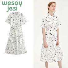 Autumn women Dresses Office plaid Polka Dot Vintage Women Dress 2019 autumn Casual white holiday Female