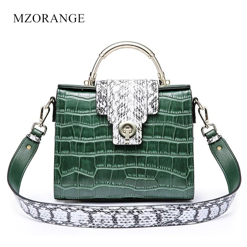MZORANGE Genuine Leather Women Handbags NEW Vintage Serpentine Panelled Flap Shoulder Bags Fashion Ladies Crossbody Bag Tote