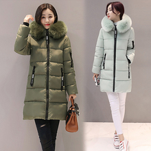 2017 fur collar big size 3XL winter jacket women long warm outerwear womens coat parka padded casacos de inverno feminino