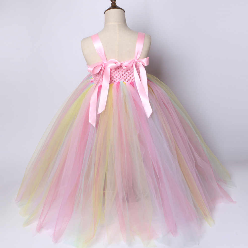 549e0ef7f80df ... Girls Unicorn Tutu Dress Pastel Rainbow Princess Flower Girl Party  Dresses Children Kids Birthday Halloween Unicorn ...
