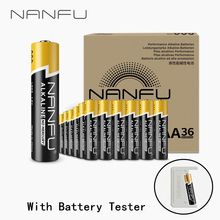 NANFU 36 Pcs/Lot AAA Alkaline Batteries with Battery Tester LR03 1.5V for Clock Controller Toys Electronic Device 3Abattery