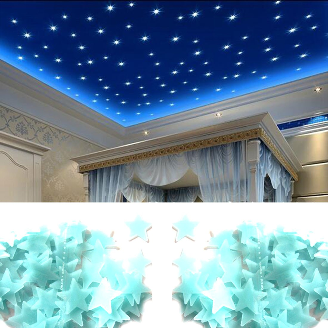 Precioso 100 Unids/pack Estrellas Luminosas Pegatinas de Pared Home Brillan En L
