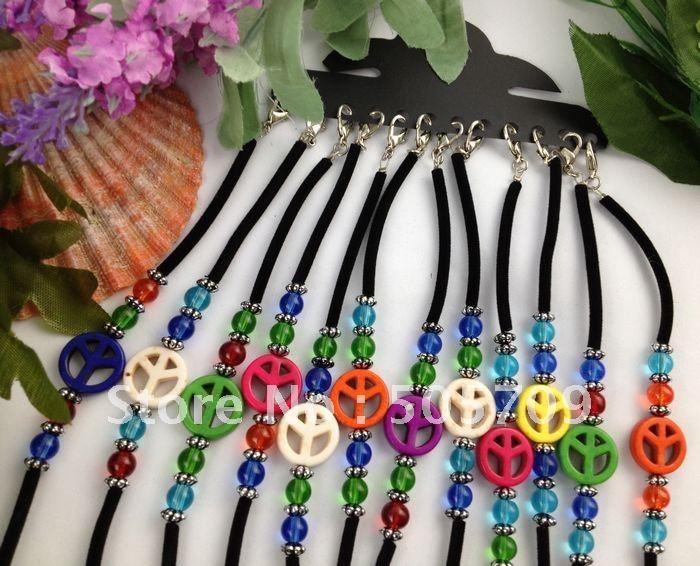 24PCS Mixed Colour Peace logo Velvet Childrens Bracelets #21614