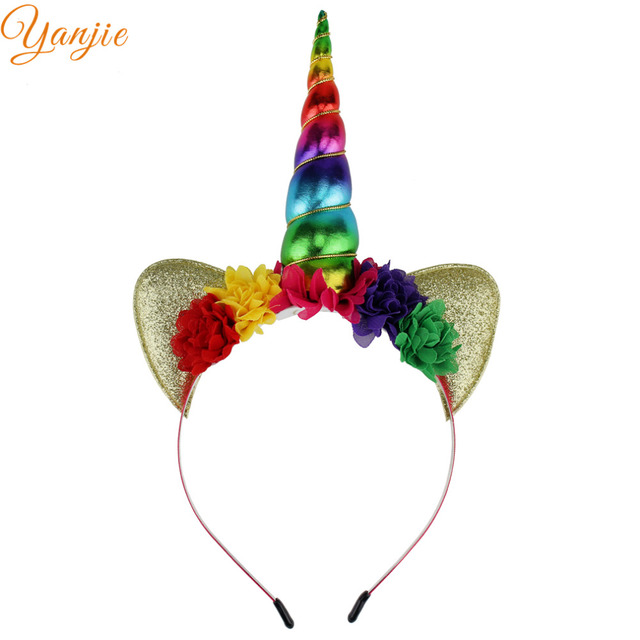 Glitter Metallic Unicorn Headband Girls 2017 Chiffon Flowers Hairband For Kids Rainbow Unicorn Horn Party Hair Accessories