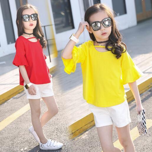 Комплекты одежды для девочек Лето 2018 детская одежда наряды подростков детская футболка + Шорты для женщин 2 шт./Костюмы для маленьких Обувь для девочек на 6, 8, 10, 12 лет
