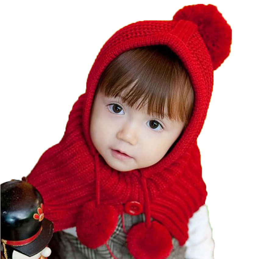 Unisex Baby Toddler Knitted Scarf Hat Winter warm Hooded Shawl Solid Children Kids Cloak Cape Boys Gilrs MZ0603