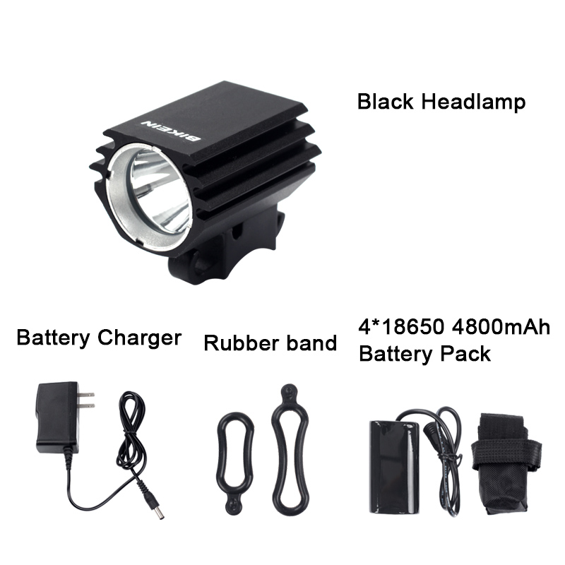 BIKEIN Cycling Bike 1800 Lumen XML-L2 LED Head Light Bicycle Front Lamp Lights Headlamp HeadLight 4800mAh With Battery Charger