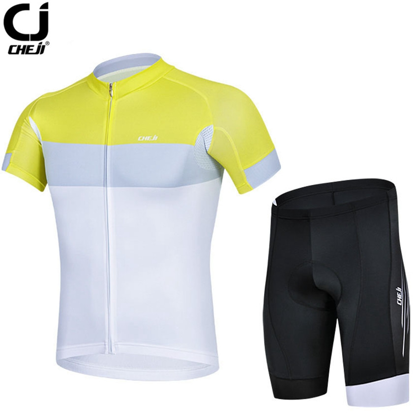 CHEJI Men Cycling Jersey Bicycle Clothing Yellow/White Bike Team Coolmax GEL Padded S-3XL - World Store store