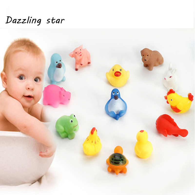 2019 New Optional 23 Animals Lovely Mixed Animals Colorful Soft Rubber Float Squeeze Sound Squeaky Bathing Toy For Baby GYH