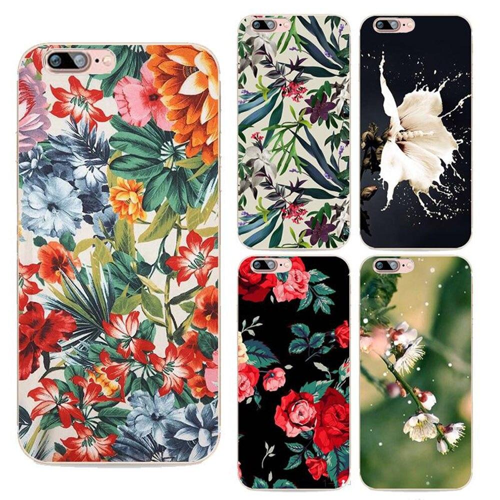 Cajas del teléfono de la vendimia floral colorido para iphone 7 plus volver rosa
