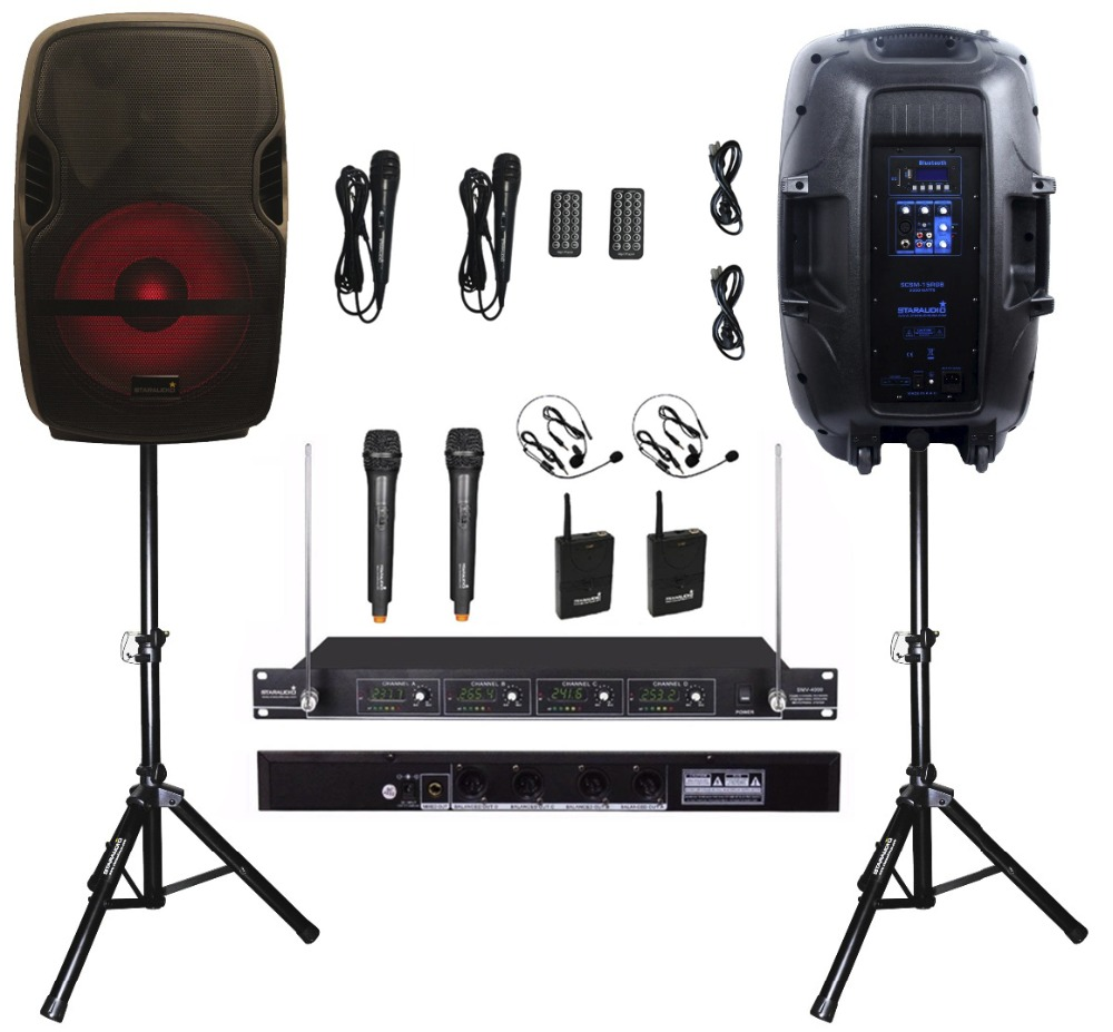 2 STARAUDIO 2000W 15 Karaoke Powered Active PA DJ KTV Stage MP3 USB BT Speakers W/ LED Light Stand 4CH Handheld Mic SCSM-15RGB