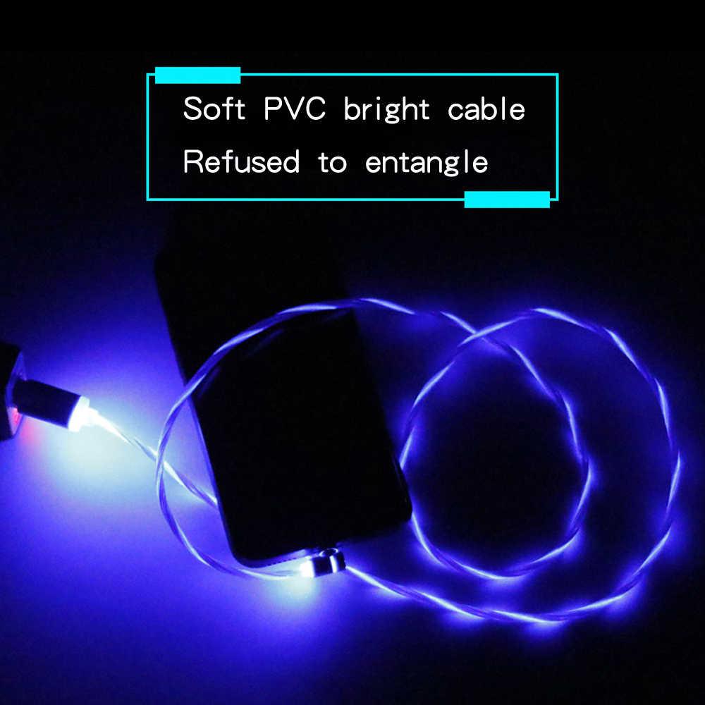 شاحن مغناطيسي لاسلكي شحن مصباح ليد آيفون X 8 المصغّر usb نوع C الهاتف المحمول كابل شحن سامسونج S8 S9 شاومي