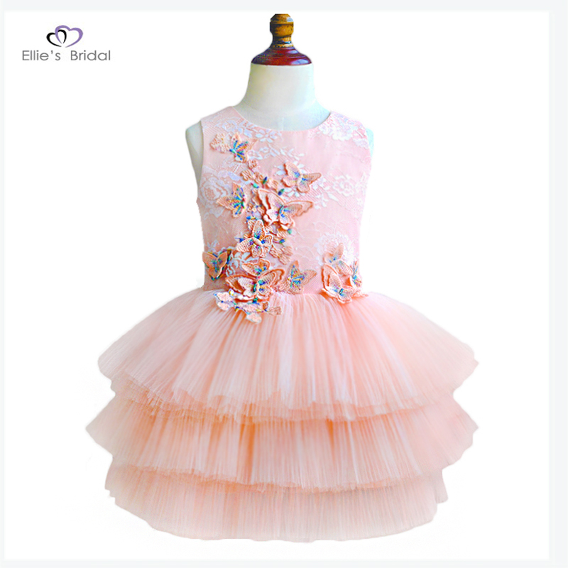 Ellies Bridal 2018 Pink Lace Girl Dresses Butterfly Appliques Flower Girl Dress Kids Evening Gowns For Wedding First Communion 1 12t pink lace long trailing wedding dress flower girl dresses appliques first communion dresses for girls pageant dresses