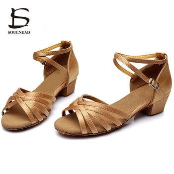 Children Latin Tango Dance Shoes High Quality Woman Ballroom Dancing Shoe Wholesale Dance Shoes for Girls Low Heel Salsa Sandals