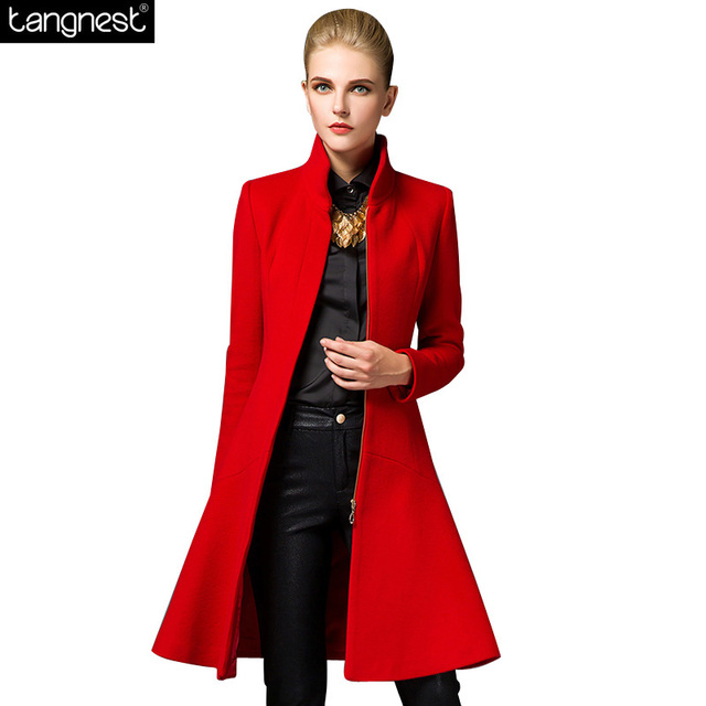 TANGNEST Woolen Blends Pea Coat For Women 2017 New Winter Jacket Long Pea Coats Zipper Up Stand Collar Wool Blends WWN1074