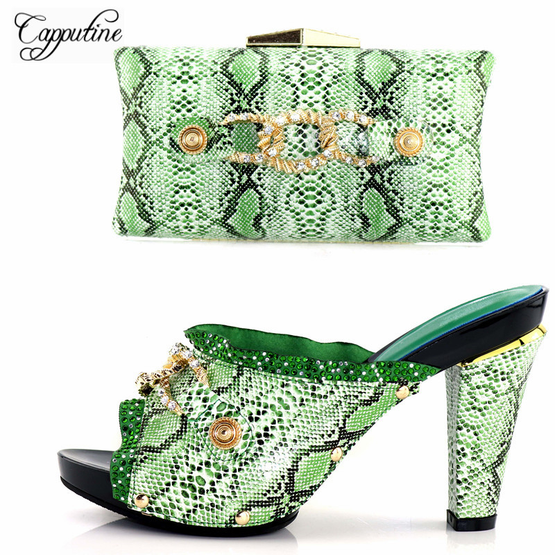 Capputine 2018 New Design Fashion Ladies PU Shoes And Bag Set For Party Italian Shoe With Matching Bag Set Size 37-43 YK-568 cd158 1 free shipping hot sale fashion design shoes and matching bag with glitter item in black
