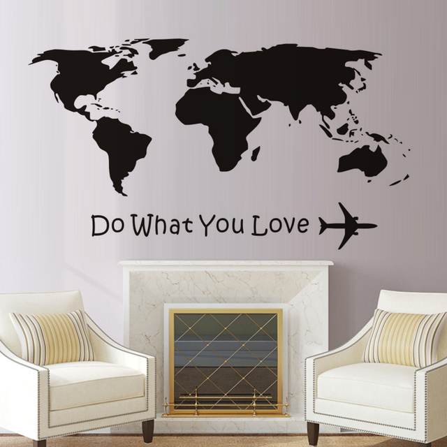 Dctop do what you love airplane wall stickers world map atlas diy dctop do what you love airplane wall stickers world map atlas diy vinyl wall decals removable gumiabroncs Images