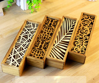 Lace Hollow Wooden Debris Storage Box Multifunction Stationery Pencil Box Large Capacity Pencil Case