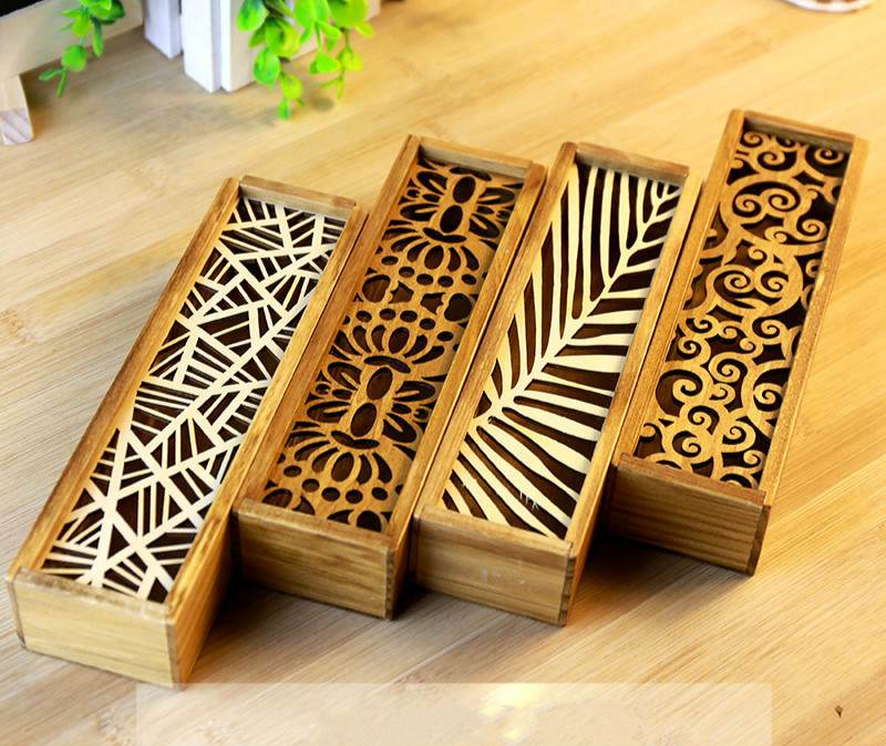 Lace hollow wooden debris storage box multifunction stationery pencil box large capacity pencil case korea stationery lovely pencil box multifunctional wooden diy drawer stationery box pencil case school