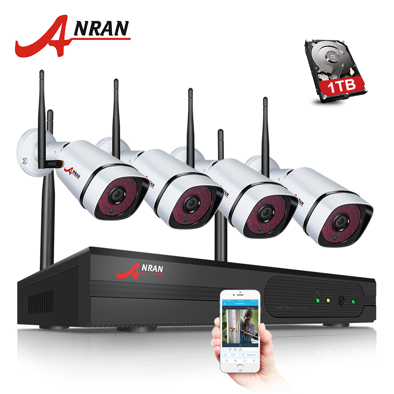 NEW ANRAN Plug Play P2P 1080P 4CH WIFI NVR Kit Outdoor 36 IR Night Video 2.0MP Wireless IP Camera Security System Hard Disk самокат 3 х колесный ridex 3d stark 135 90 мм синий