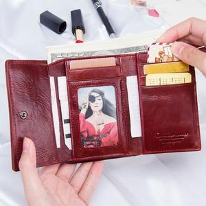 Image 3 - Модный короткий кошелек Contacts для женщин, маленький бумажник из натуральной кожи с rfid защитой и застежкой, кредитница, бумажники для женщин