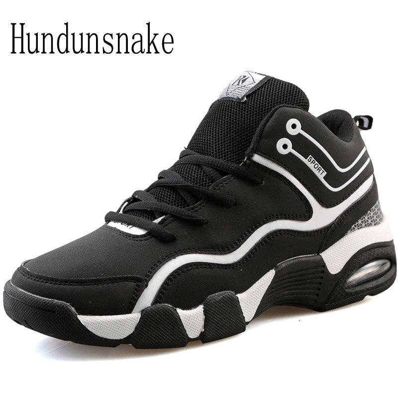 hundunsnake kulit sneakers wanita hitam bantalan sepatu lari untuk pria 2017 olahraga perempuan gumshoes
