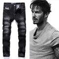 Preto Impresso Logotipo Da Marca de Jeans Homens Designer de Moda Jeans Calças de Alta qualidade calças de Brim Dos Homens Magro Reta Denim Jeans Homem F702