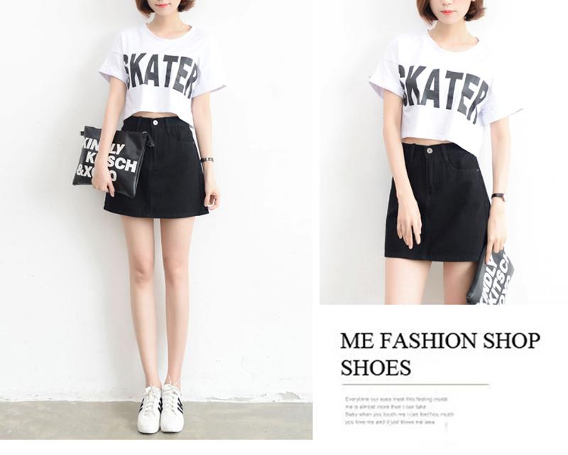 Lucyever Fashion Korean Summer Women Denim Skirt High Waist Black Mini Skirts Package Hip Blue Jeans Harajuku Plus Size Cotton 28