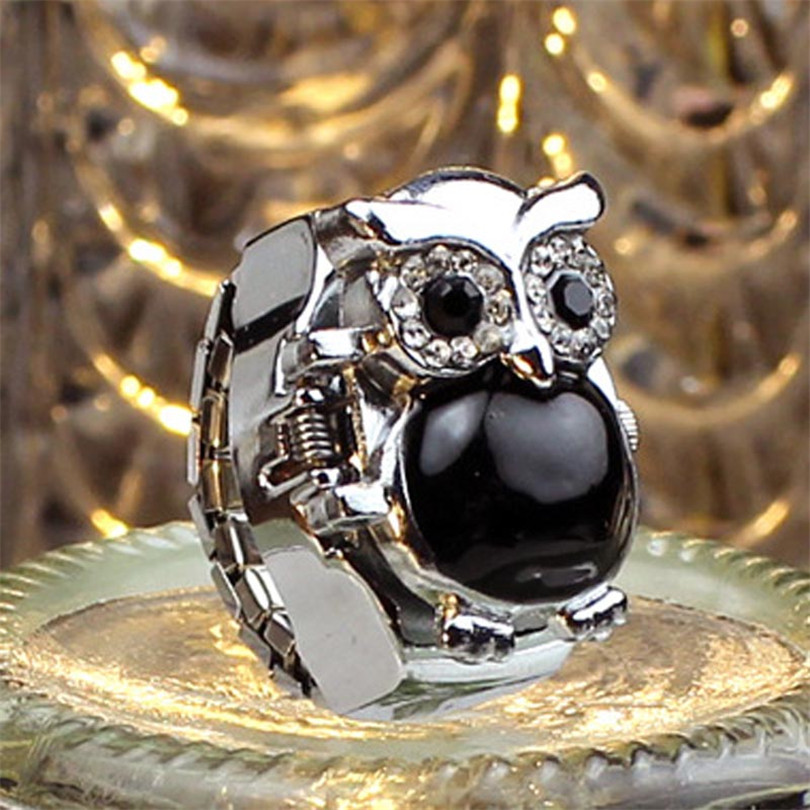튼튼한 패션 새로운 핫 크리 에이 티브 패션 레트로 올빼미 손가락 시계 폴더 형 반지 시계