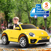 Uenjoy Electric Ride on Volkswagen Cars 12V Battery Lovely VW Beetle Kid's Vehicles Cars Double Drive Car for Kids W/ Remote