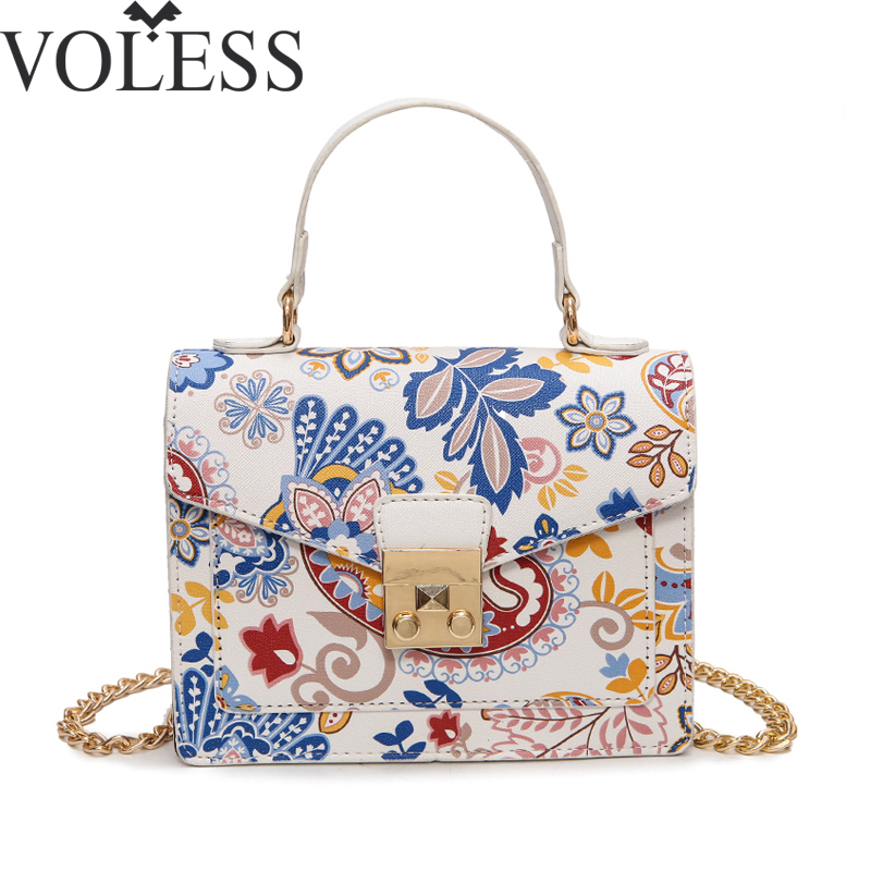 Bags Handbags Women Famous Brands Vintage Pu Leather Shoulder Bag High Quality Chains Crossbody Bolsos Female Tote Bag Floral vintage women bag high quality crossbody bags luxury designer large messenger bags famous brands female shoulder bag tassen flap