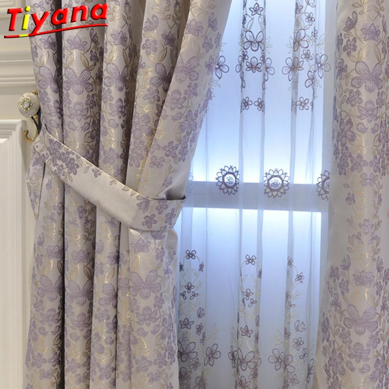 Modern Purple Grey Screening Window Curtains Cloth Voile Tulles For Bedroom Cotton Drapes Living Room Hot Sale Wedding Su284 *30