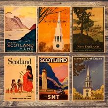 Viaje a escocés Inglaterra lienzo pintura Vintage cuadros Kraft carteles recubiertos pegatinas de pared decoración del hogar regalo