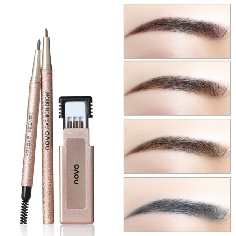 1set Pro Makeup Eye Brow Kit with Refill Easy to Wear Pigment Brown Waterproof Eyebrow Pencils with Stencils Cosmetic Tools in Eyebrow Enhancers from Beauty Health