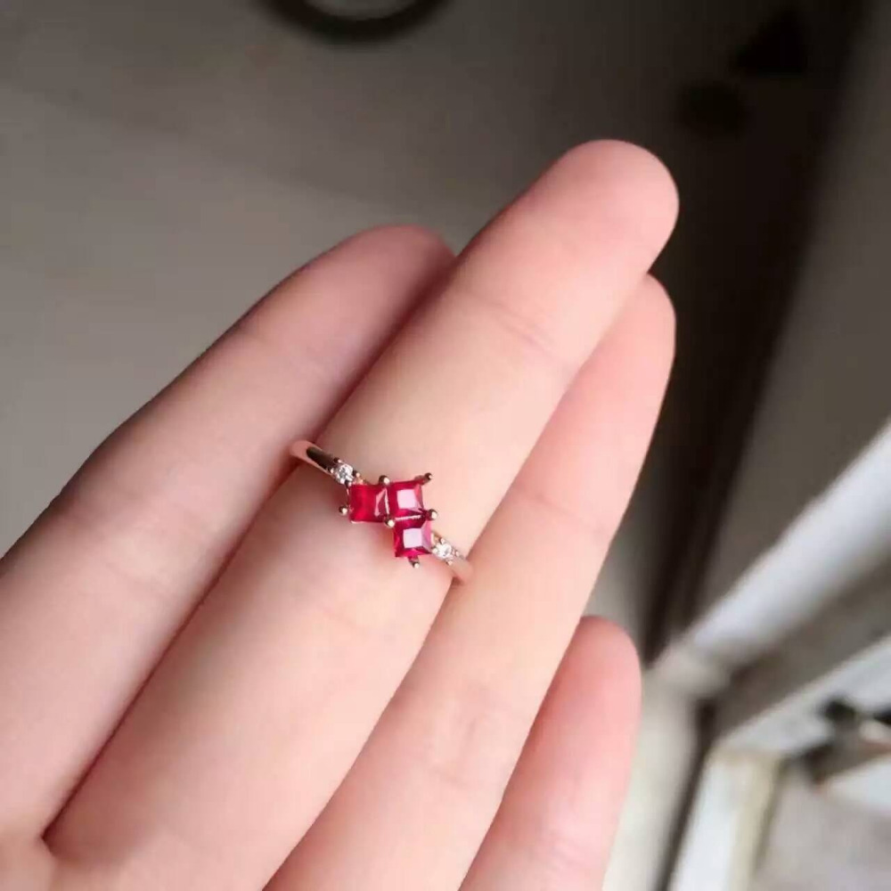 Natural ruby stone Ring s925 sterling silver Natural 2.8mm red ...
