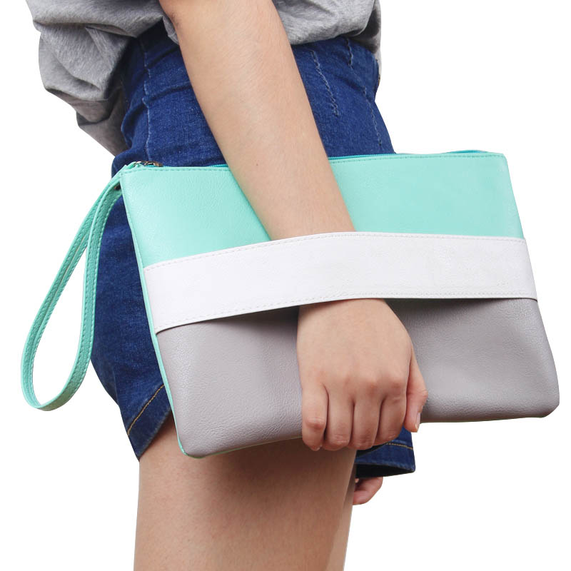 Candy Color Leather Women Bag Day Clutches Handbag Bolsa Feminina Wristlets Bags Ladies Casual Patchwork Wristlet Clutch(China)